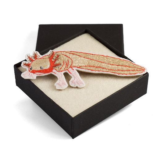 broderie contemporaine broche bijou axolot bestiaire