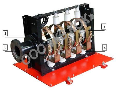 высоковольтный токоприемник ТКЭ 5-0 изнутри