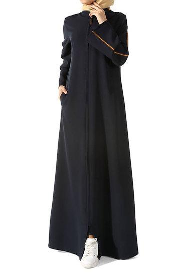 F - abaya Navy blue  قالب واسع