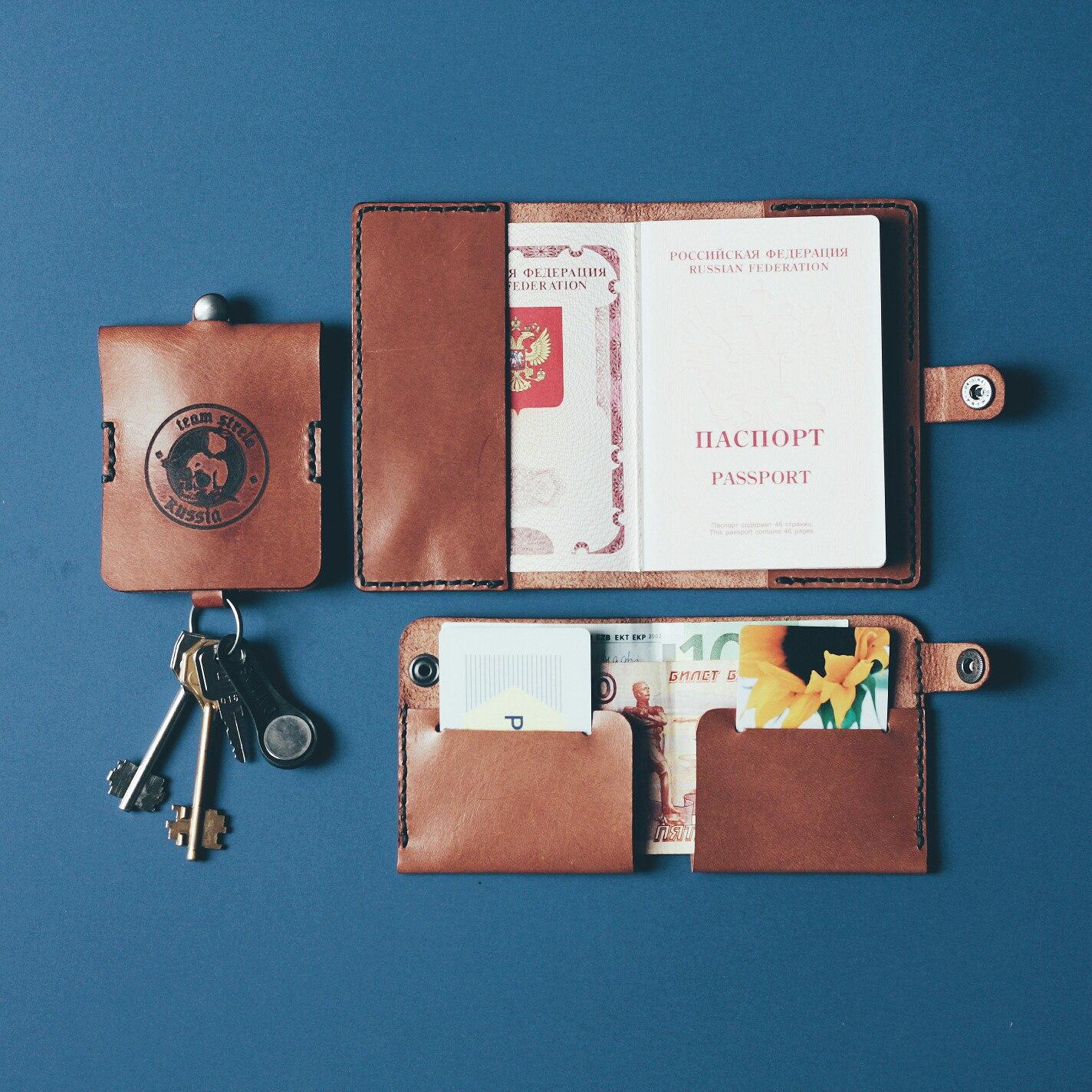 Обложка для Паспорта кошелек и ключница корпоративный заказ логотип Strela team Стрела ручная прошив