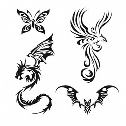 Векторное изображение узор татуировка бабочка дракон летучая мышь жар птица феникс вектор для логоти
