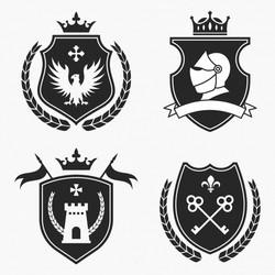 Векторное изображение коллекция средневековый герб птица шлем рыцарь fleur de lis корона силуэт вект