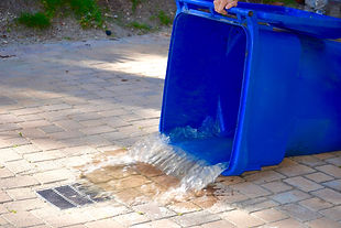 dumping trash can