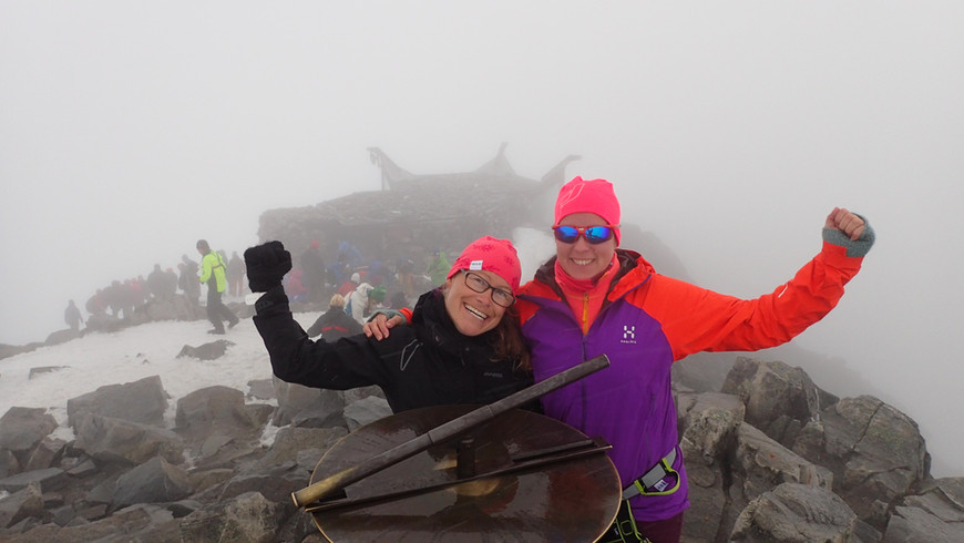 To happy friends on top of Galdhøpiggen