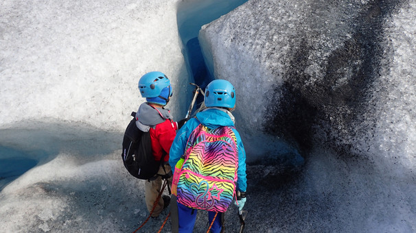 A glacier crevass can be both scary and fascinating, also for kids