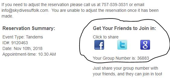Group Bookings | Skydive | Virginia | Skydive Suffolk