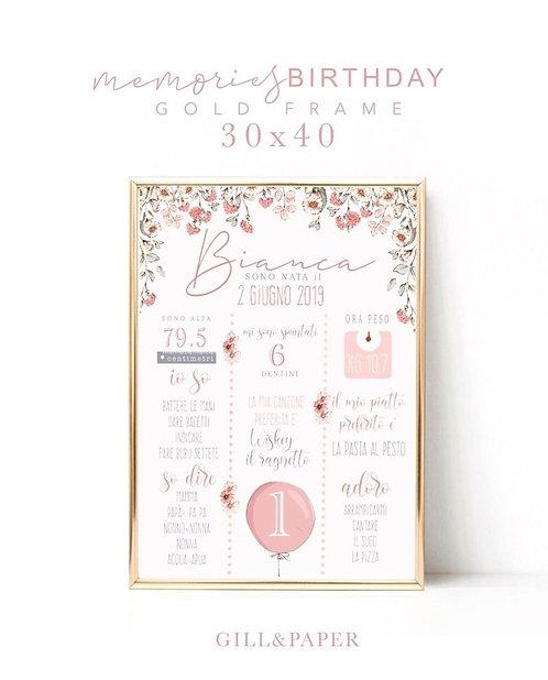 Quadretto Primo compleanno bimba