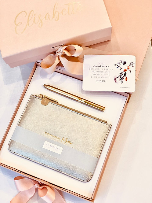 Box Rose Gold Pochette e Penna oro