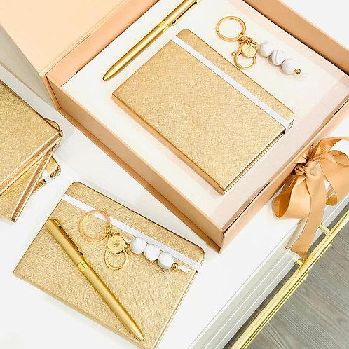Box Rose Gold Taccuino, Portachiavi e Penna oro