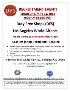 DFS Recruitment flyer - Torrance 5.23.19