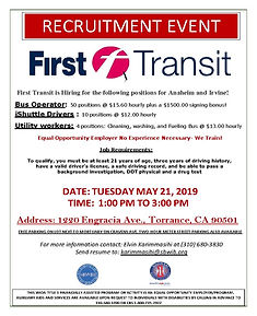 First Transit Torrance Recruitment 5.21.