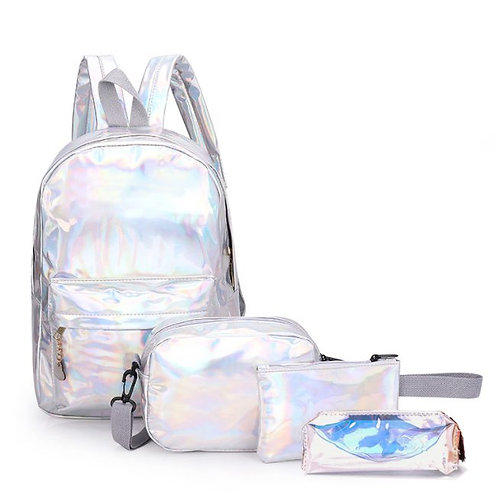 Domani Kids 4 pcs Holographic school backpack set