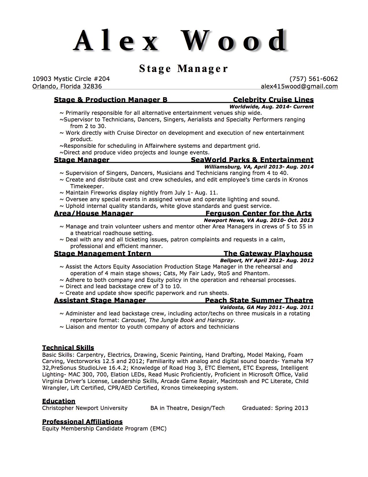 Stage Manager Resume Description Virtren