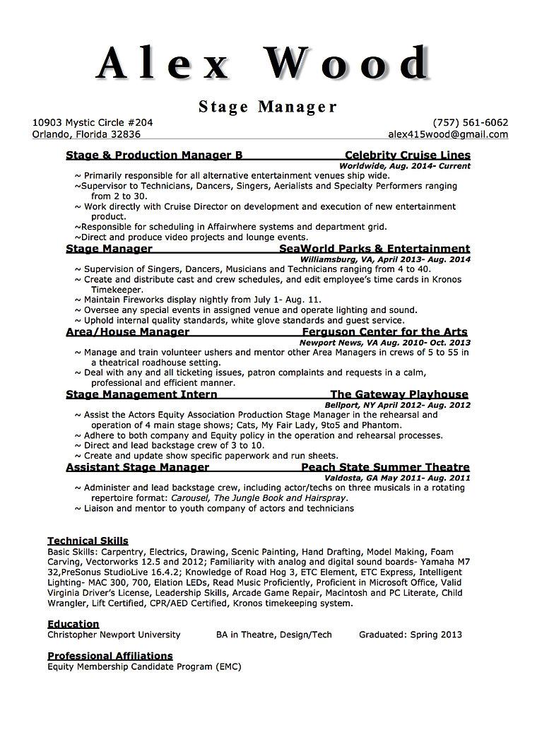 stagemanager resume webmaster login