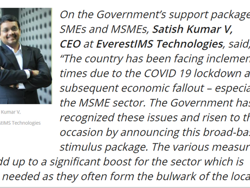 V Satish Kumar CEO, EverestIMS Technologies was featured in CXO voice on the Government's