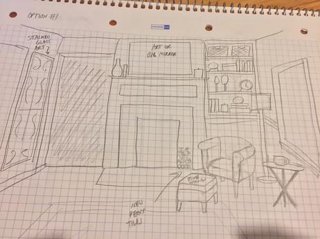 Living Room Sketch for E-Design Client