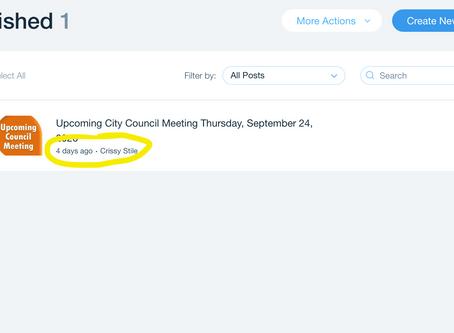Upcoming City Council Meeting September 24, 2020