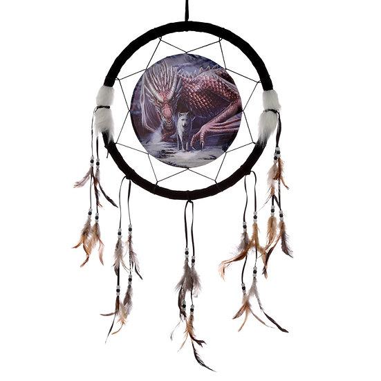 Decorative Lisa Park Dragon and Wolf Alliance 33cm Dreamcatcher
