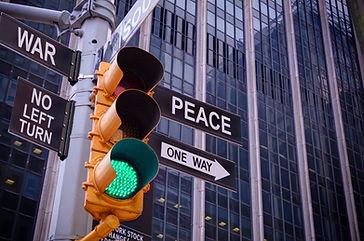 NYC Wall street yellow traffic light bla