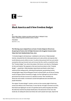 Black America and A New Freedom Budget c
