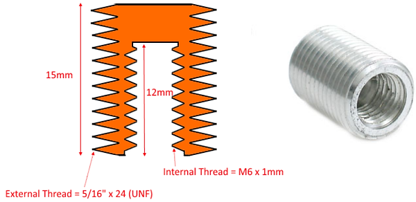 """M6 thread adapter for metric bolt handles to fit 5/16"""" x 24 TPI bolt knobs"""