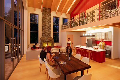 sustainable guest house countryside great room interior design
