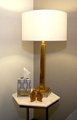world market marble and brass end table and safavieh gold lamp