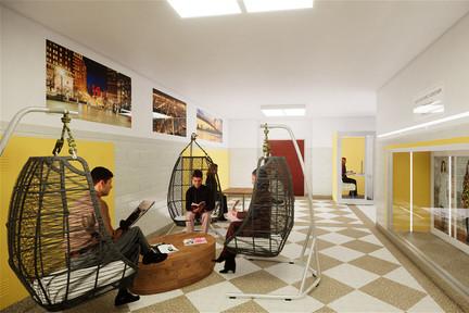 co-working lounge basket swing chair corridor reuse
