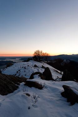 winter evening lake view