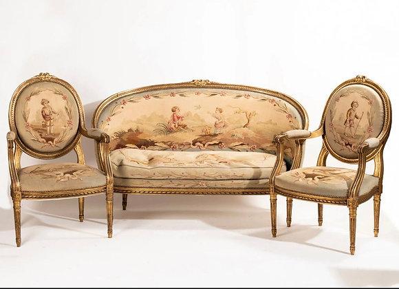 Salon en bois doré ,tapisserie