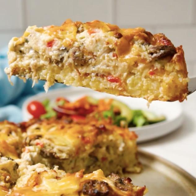 Cheesy Chicken Alfredo Rice Pie