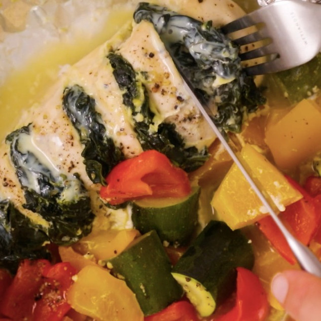 Creamed Spinach Foil-Pack Chicken (with only 5 ingredients!)