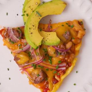 Cheesy Boerie & Baked Beans Omelette Pizza