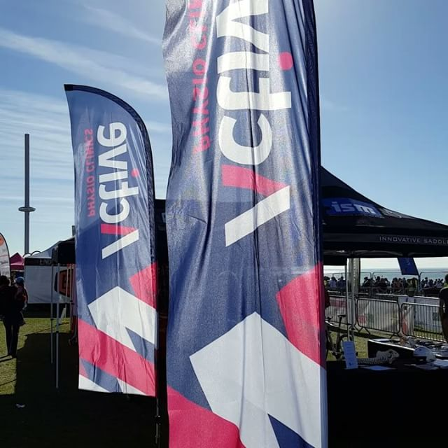 My new flags looking great flying in the #brightonandhovetriathlon  on the seafront !_#activephysioc