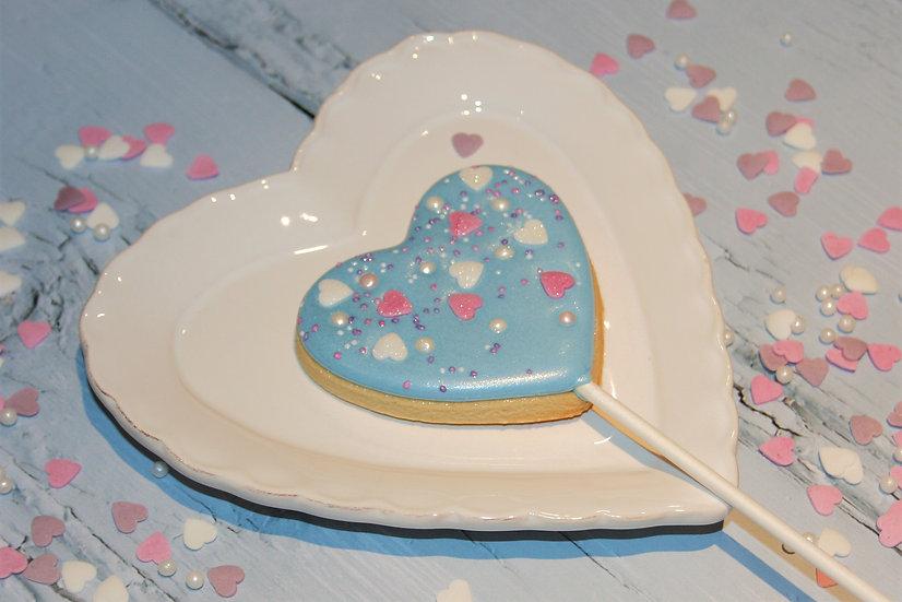 Blue Sprinkle Heart Lolly