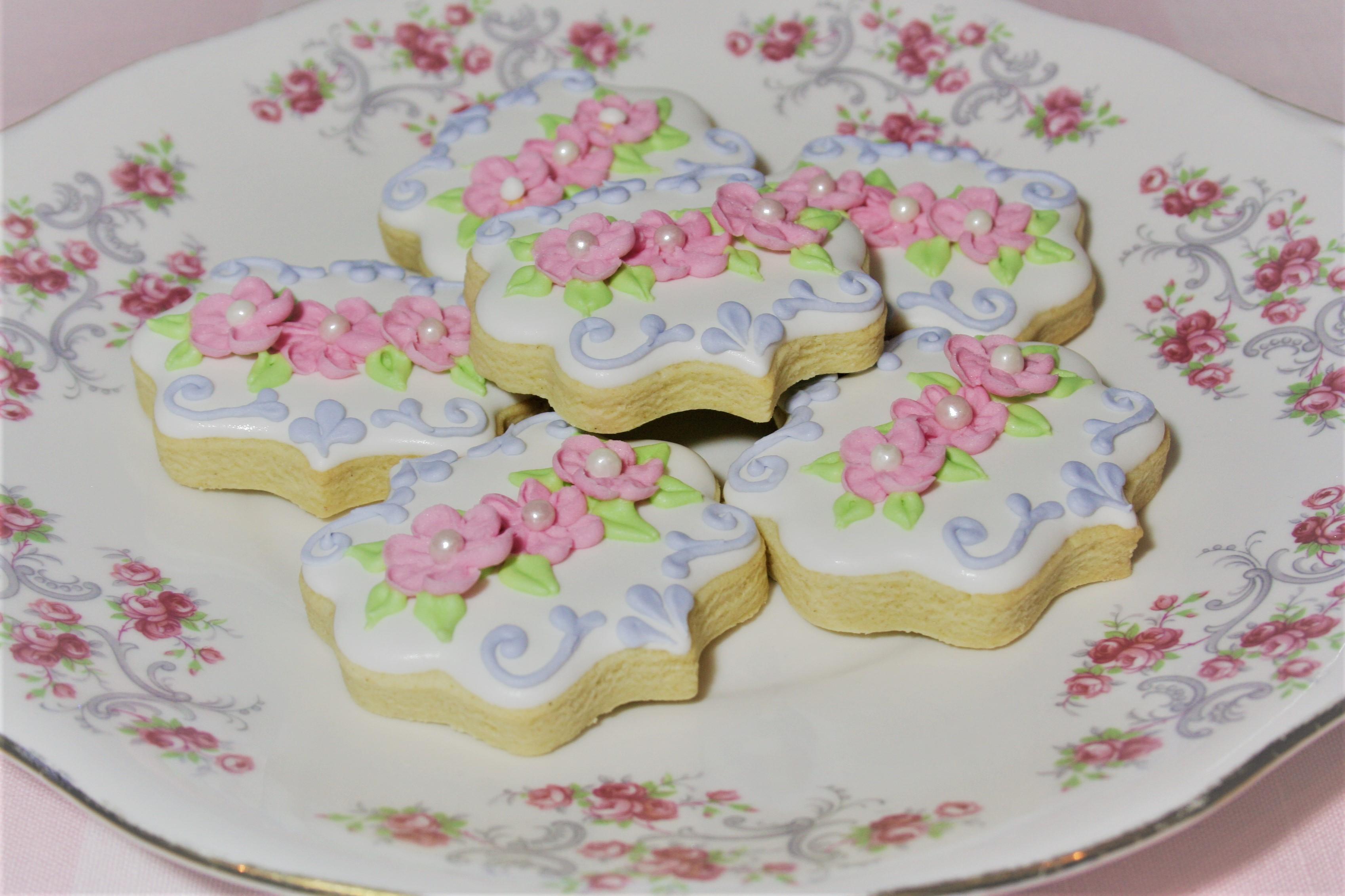 Vintage Floral inspired sugar cookies
