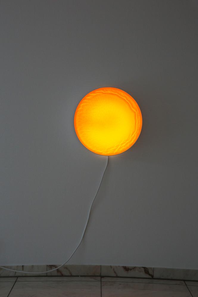 Lovesong – rund XIV, Orange-Gelb mit Struktur, 2015