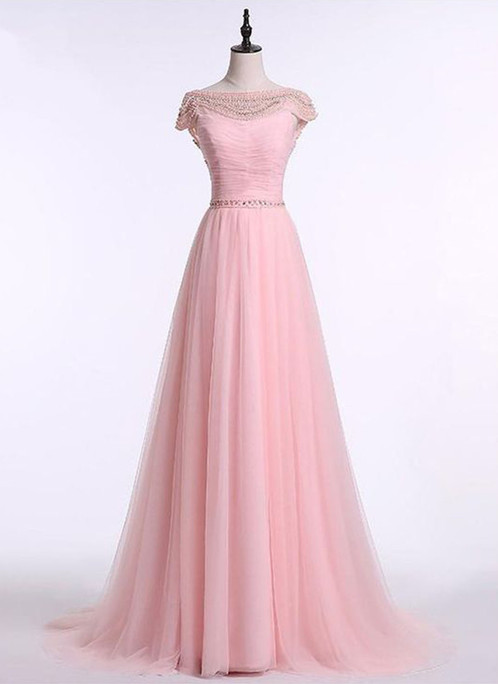 Spring pink chiffon cap sleeves open back long senior bead customize ...
