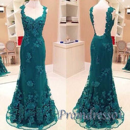 Cute green lace open back prom dress with straps | Prom dresses ...