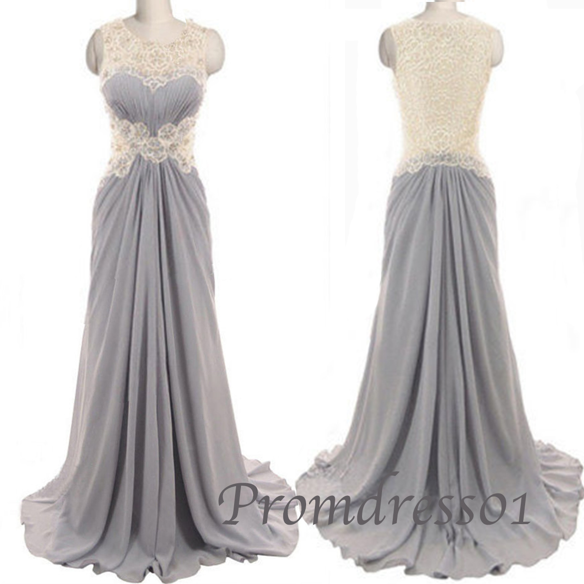 Grey long handmade lace graduation & prom dress | Prom dresses ...