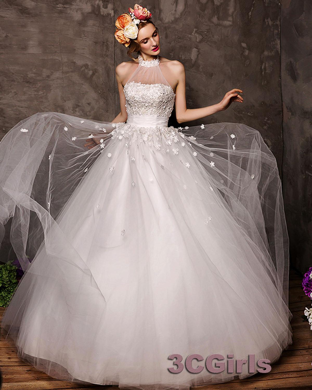 High Neck Long Handmade Halter Wedding Dress Gown 3cgirls