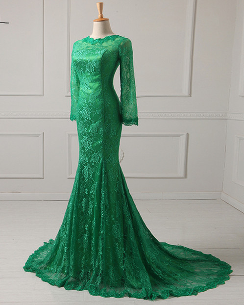 Green Mermaid Formal Dress