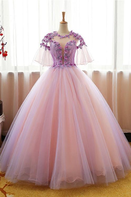 Lavender 3D flower A-line long senior prom dresses   Prom and ...