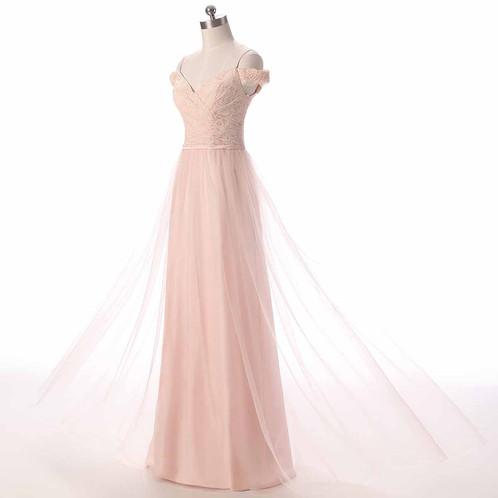 Fresh pink lace off shoulder short sleeve long tulle prom dress ...