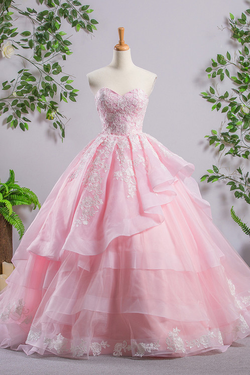 Princess pink tulle court train tulle ball gown