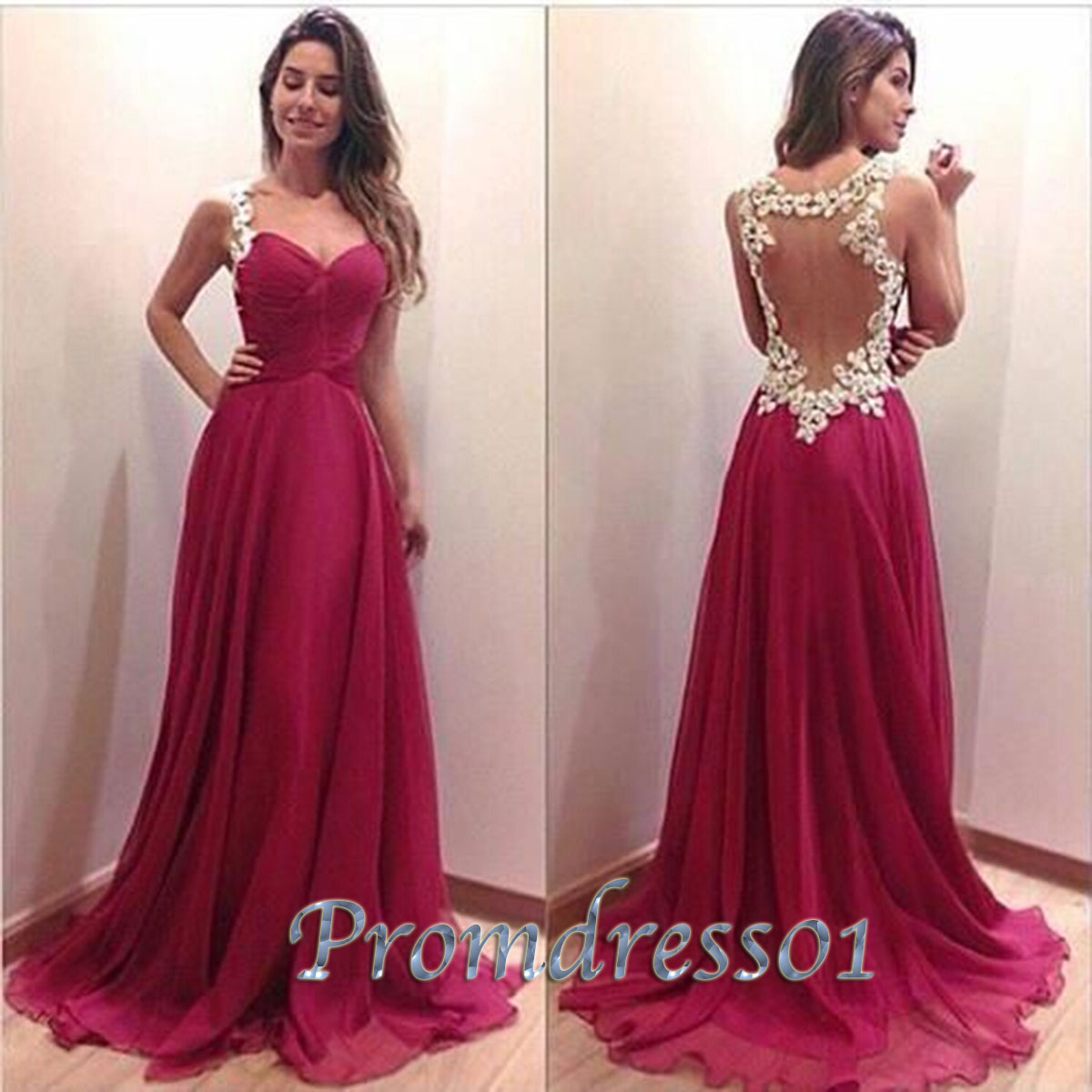 Cute rose lace evening dress, long prom dress | Prom Dresses 2017 ...