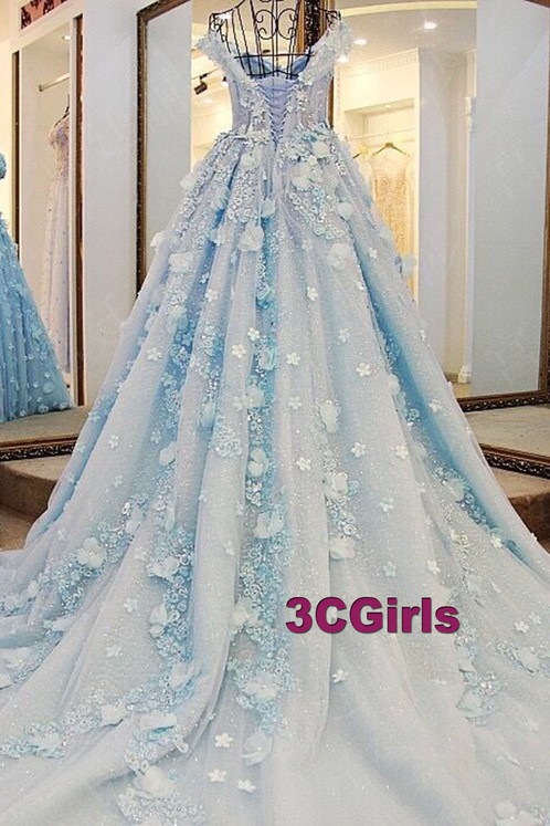Light blue organza handmade flower wedding dresses
