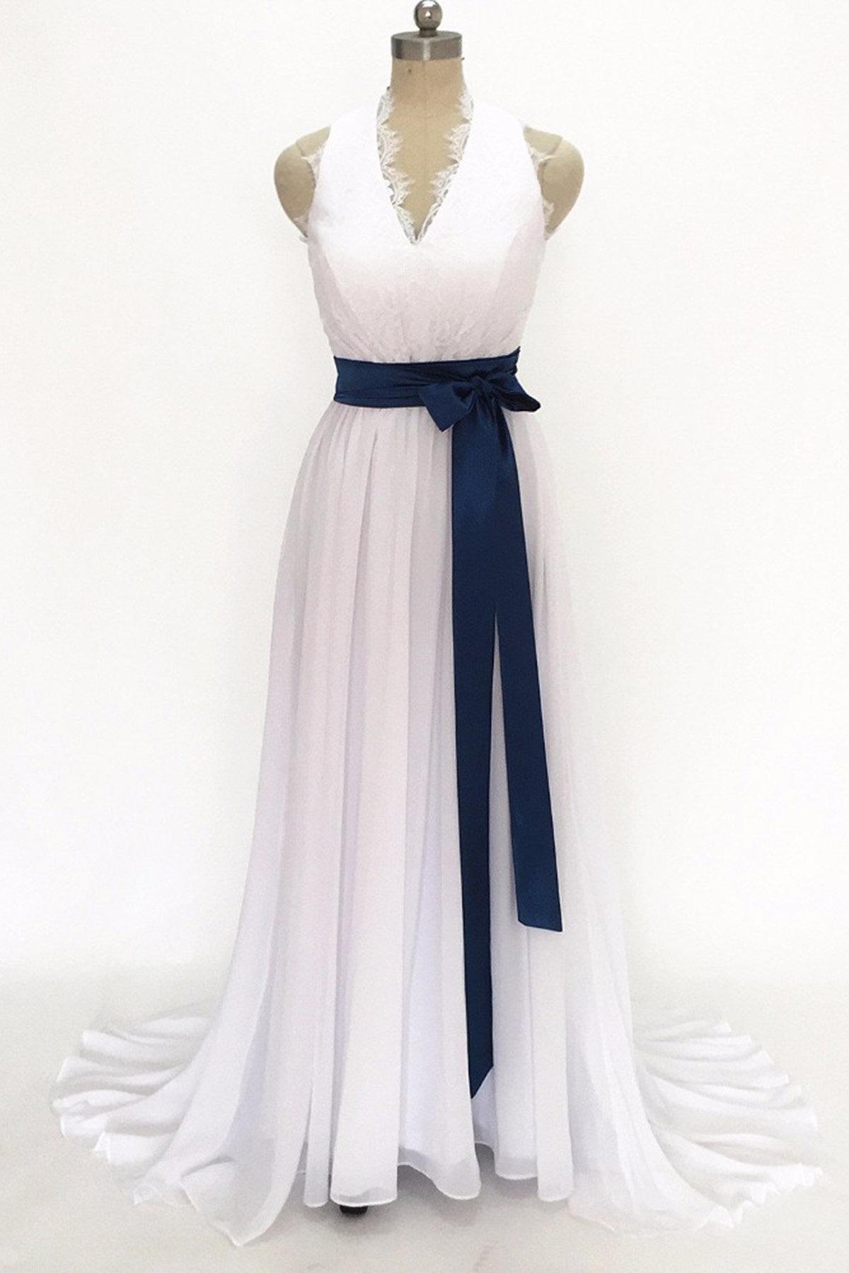 b01b9d2d9375 Simple White Chiffon V Neck Long Prom Dress, Bridesmaid Dress ...
