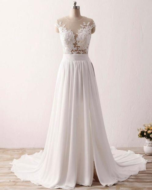 White chiffon long train lace side slit formal prom dress, white ...