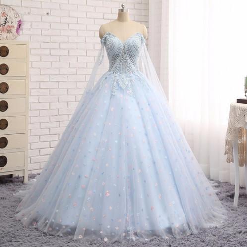 Babyblue Lace Long Train Prom Dress Wedding